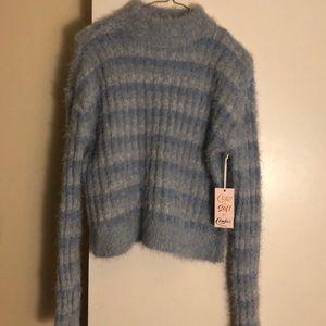 Unworn blue fuzzy sweater